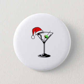 Christmas Martini Pinback Button