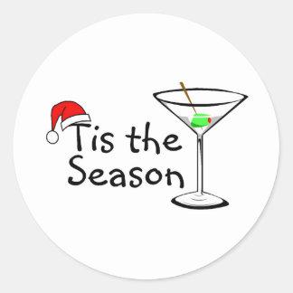 Christmas Martini Tis The Season Classic Round Sticker