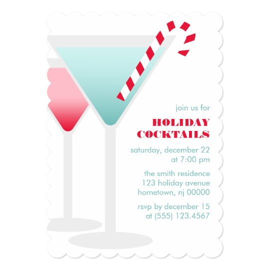 Christmas Martinis Cocktail Party Card