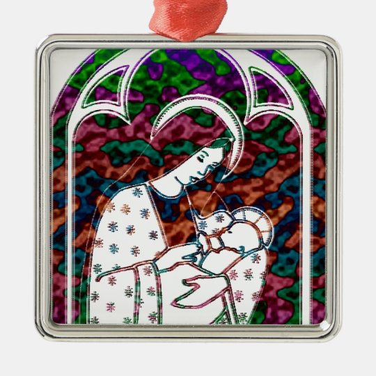 Christmas Mary and Baby Jesus Art Metal Ornament