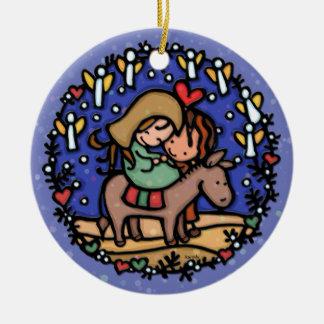 Christmas Mary Joseph Angels Rejoice BLUE Christmas Ornament