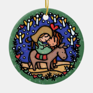 Christmas Mary Joseph Angels Rejoice GREEN Christmas Tree Ornament
