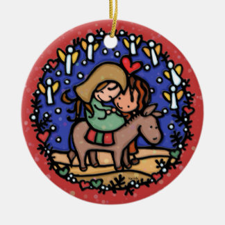 Christmas Mary Joseph Angels Rejoice RED Christmas Ornament