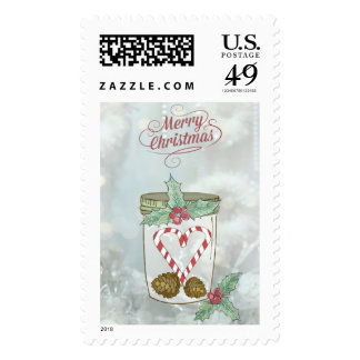 Christmas Mason Jar Candy Cane Heart Postage Stamp