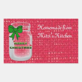 Christmas Mason Jar Labels Rectangular Sticker