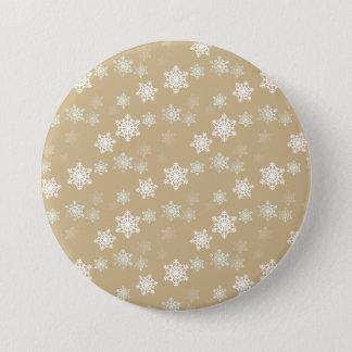 Christmas Matte Gold Snow Flakes Button