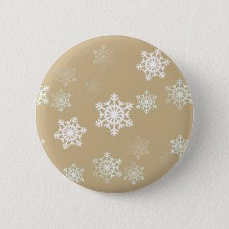 Christmas Matte Gold Snow Flakes Pinback Button