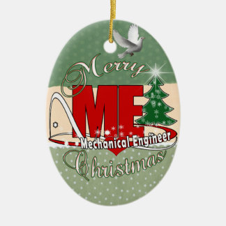 CHRISTMAS ME MECHANICAL ENGINEER Double-Sided OVAL CERAMIC CHRISTMAS ORNAMENT