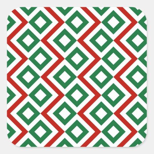Christmas Meander Square Sticker