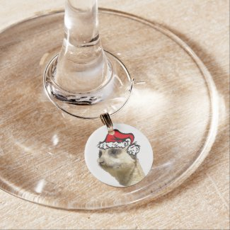 Christmas Meerkat Colored Single Wine Charm