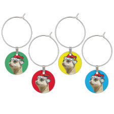 Christmas Meerkat Colored Wine Charms