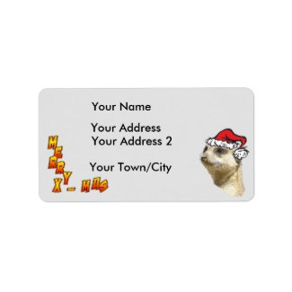 Christmas Meerkat Customizable Address Labels