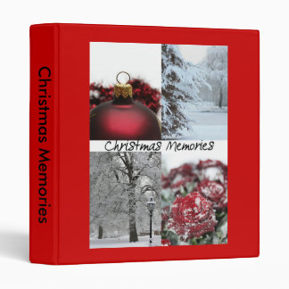 christmas memories red winter snow collage 3 ring binders