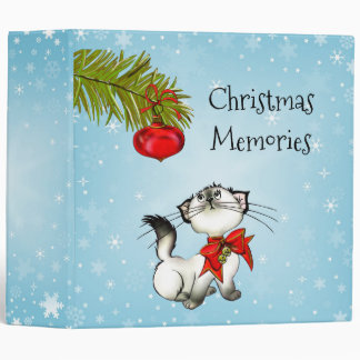 Christmas Memories With Cute Cat In A Festive Bow Binder