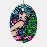 Christmas Mermaid Merry Mindy Art by Hannah Lynn Ceramic Ornament