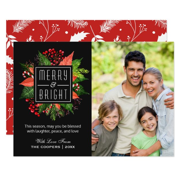 Christmas Merry and Bright Floral Family Photo Card