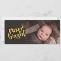 Christmas Merry Bright Gold Foil Typography Photo Holiday Card