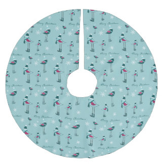 Christmas Merry Christmas, Snowflake, Bird Pattern Brushed Polyester Tree Skirt