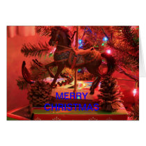 CHRISTMAS MERRY GO ROUND HORSE CHRISTMAS CARD
