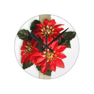 Christmas Merry Holiday Tree Ornaments celebration Round Wall Clock