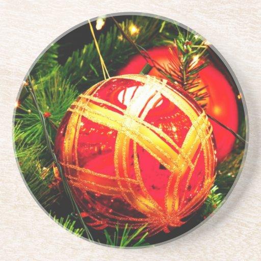 Christmas Merry Holiday Tree Ornaments celebration Beverage Coaster