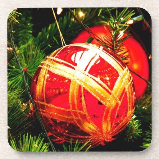 Christmas Merry Holiday Tree Ornaments celebration Drink Coasters