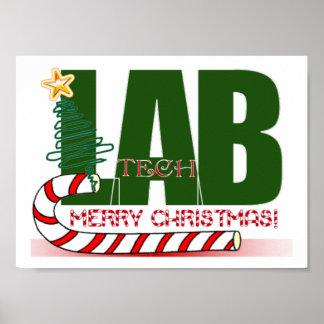 CHRISTMAS MERRY LABORATORY - LAB TECH FRAMED PRINT