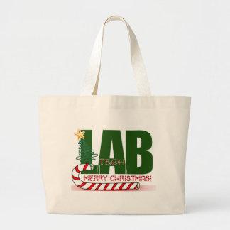CHRISTMAS MERRY LABORATORY - LAB TECH LARGE TOTE BAG