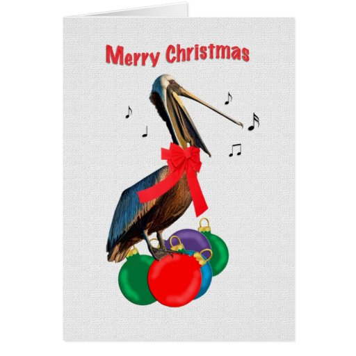 Christmas, Merry, Pelican Singing Greeting Card