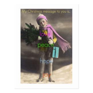 christmas message of love postcard