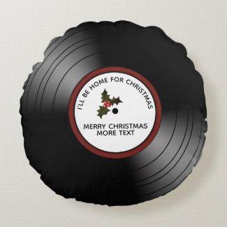 Christmas Message Vinyl Record Bronze Tint Round Pillow