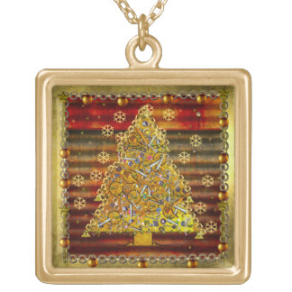 Christmas Metal Tree Gold Plated Necklace