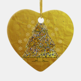 Christmas Metal Tree Double-Sided Heart Ceramic Christmas Ornament
