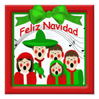 Christmas Mexican Carolers Family Five Greeting Custom Invitations