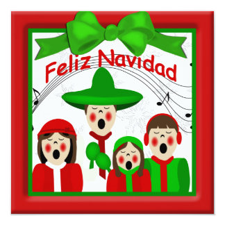 Christmas Mexican Carolers Family Four Greeting Announcement