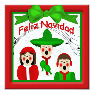 Christmas Mexican Carolers Family Greeting Invitation