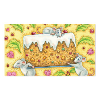Christmas Mice Carrying a Fruit Cake Dessert Business Card Template