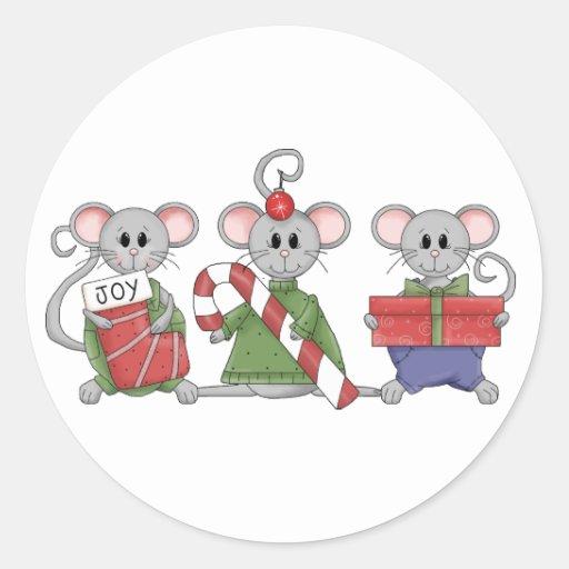 Christmas Mice Classic Round Sticker
