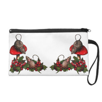 Christmas: Mice, Toadstools, Holly, Berries, Snow Wristlet Purse