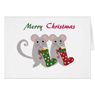 Christmas Mice with Stockings Greeting Card