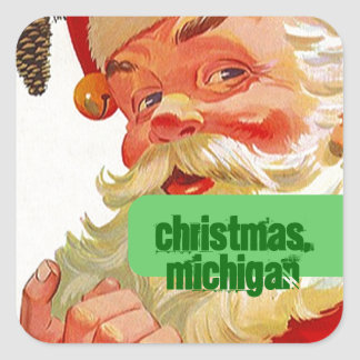 Christmas Michigan MI Luggage Label Travel sticker