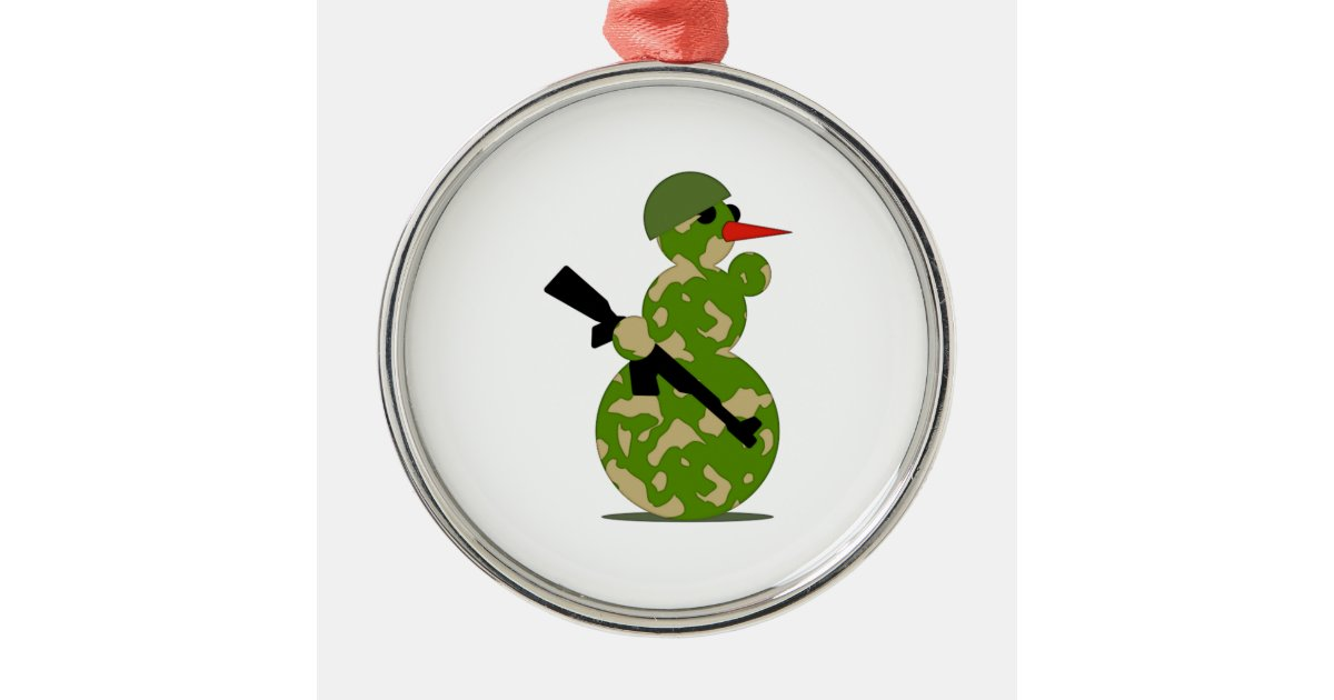 Christmas military snowman metal ornament zazzle