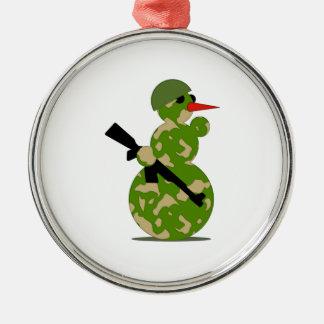 Christmas Military Snowman Round Metal Christmas Ornament