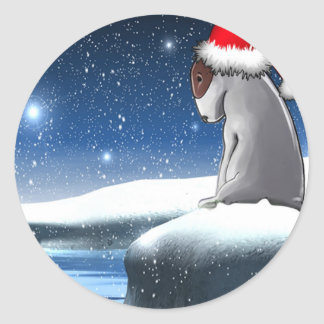 Christmas Milo (The Bull Terrier Puppy) Classic Round Sticker