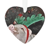 Christmas Mini Pig Heart Ornament