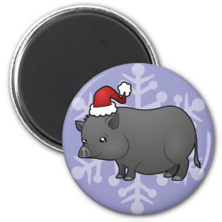 Christmas Miniature Pig 2 Inch Round Magnet