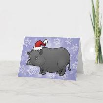 Christmas Miniature Pig Holiday Card