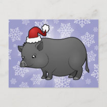 Christmas Miniature Pig Holiday Postcard