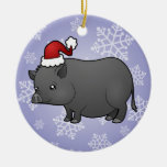 Christmas Miniature Pig Double-Sided Ceramic Round Christmas Ornament