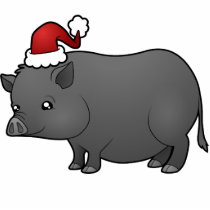 Christmas Miniature Pig Statuette